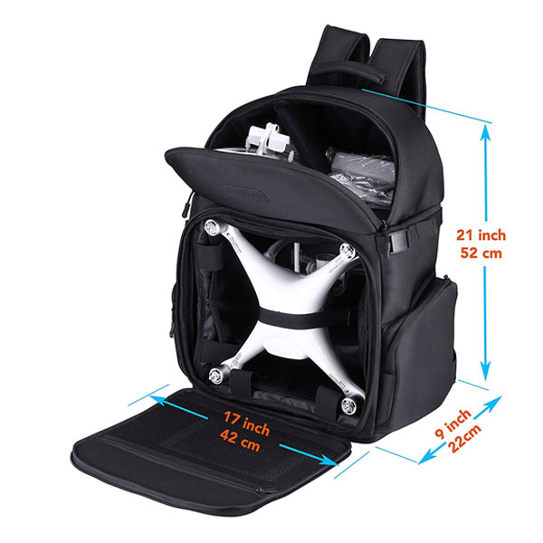 Lykus DBP-100U Water Resistant Travel Backpack for DJI Phantom 4 / 4 Pro and Phantom 3